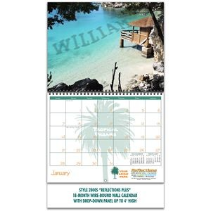Reflections Wire-bound 18-Month/19-Photo Wall Calendar with 4